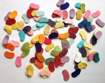 Wool Felt Easter Jelly Beans 100 - 3/4 inch Random Colored. 1341