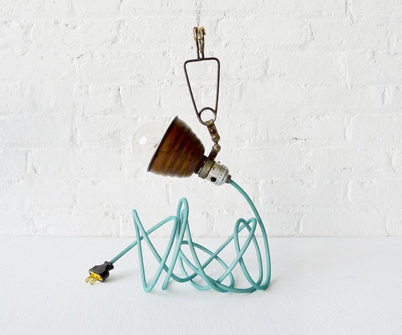 RESERVED for Kim - Vintage Industrial Light - Little Bell Clip Hanging Lamp with Aqua Net Color Cord