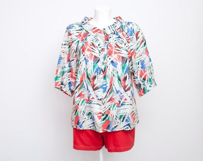 Multicolor puff blouse colorfull strokes NOS Vintage