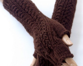 Chocolate color gloves-Brown Half Finger-Unisex-READY TO SHIP