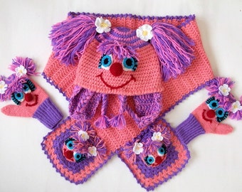Abby Cadabby(Inspired) Set-Crochet Baby  Hat,Scarf and Mitten-for Baby or Toddler-Girl Hat,Scarf,gloves-Costume-sesame street characters