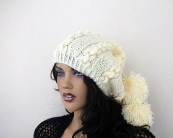 Pon pon hat-Cream Knitting Hat or cowl,scarf