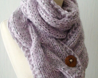 Chunky Scarf  Knit  Winter Cowl  Cabled in Light Pink and Silver Grey