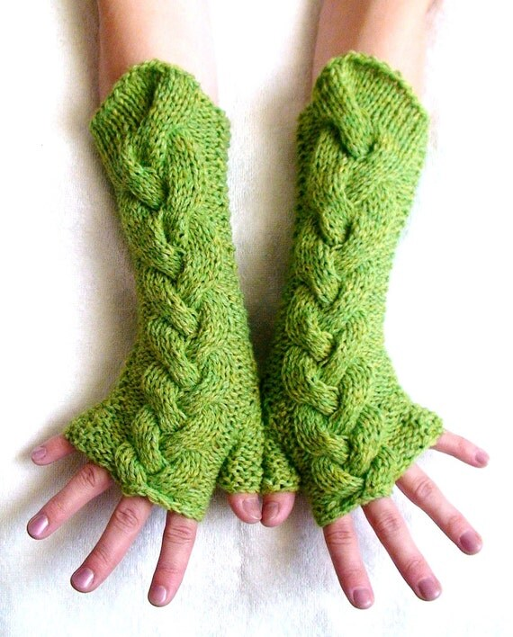 Fingerless Gloves Green Melange, Soft Cabled Arm Warmers