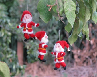 Needle felted Santa Claus Christmas ornament