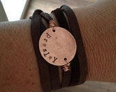 Personalized hand stamped bracelet with leather