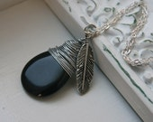 Silver Wire Wrapped  Black Stone Necklace.....Midnight Flight