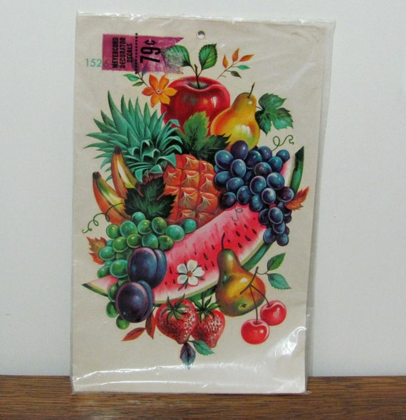 Large Vintage Meyercord Home Decor Decal Sheet Fruit Mix