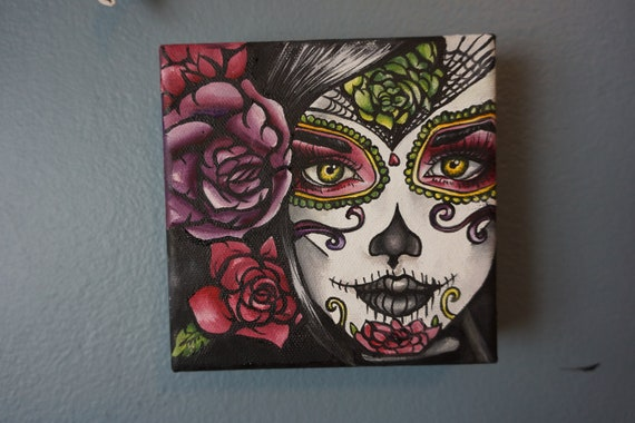 Reserved- Day of the Dead  Dia de los muertos Painting- Original Oil Painting 5 x 5 Big Eye Art Lowbrow Tattoo Home Decor art