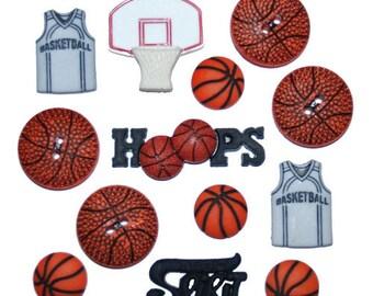 Jesse James Buttons Basketball Button Embellishments Novelty Sports Themed
