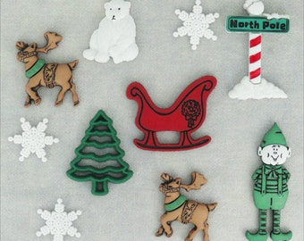 Jesse James Button Embellishments Holiday Novelty Buttons North Pole Christmas Tree Xmas Winterfest