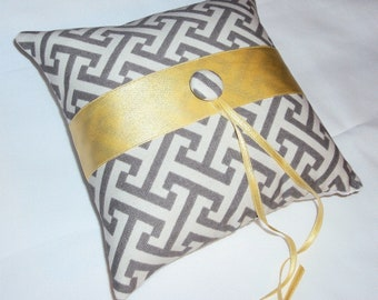 Modern Gray and White Ring Bearer Pillow With Yellow Silk Ribbon