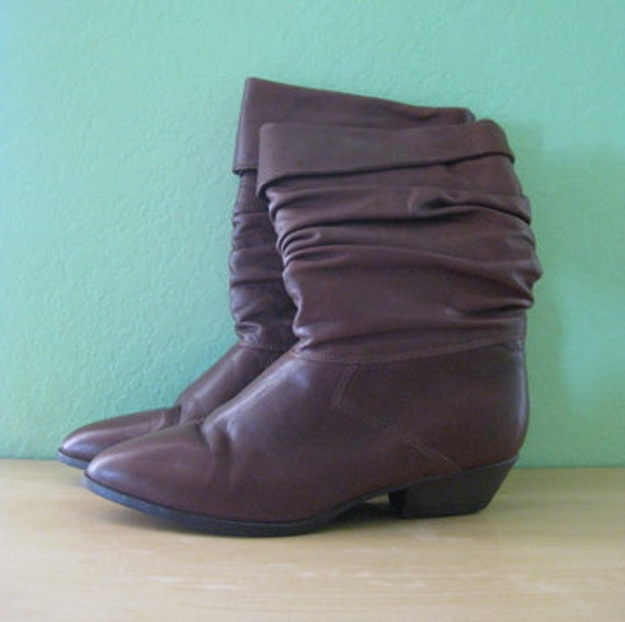 80s boots - leather slouch ankle high heels - size 8.5