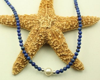 Natural Blue Lapis Sterling Silver Necklace