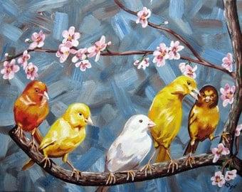 Original Bird Painting - Sunday Brunch