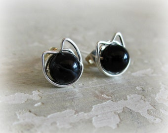 Black Cat Stud Earrings, Sterling Silver Posts, Pet Lover, Kitty Stud Earrings, Black Onyx Studs, Cat Jewelry, Kitty Cat,Cat Post Earrings