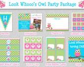 Owl Birthday Invitations , Birthday Party Package Printable