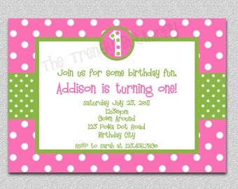 Hot Pink Polka Dot Birthday Invitation Pink and Green Birthday Invitation