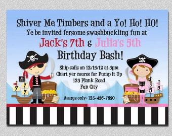 Pirate Birthday Invitation Twins Pirate Birthday Party Invitation Printable