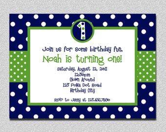 1st Birthday Polka Dot Birthday Invitation Polka Dot Birthday Party Invite Printable