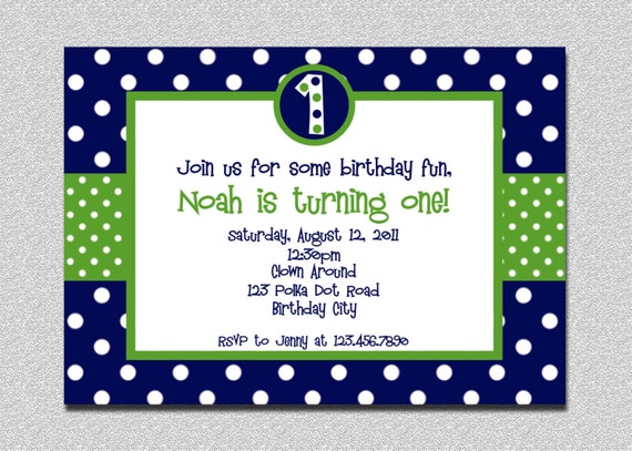 1st birthday polka dot invitation green and blue birthday il570xn stopboris Image collections