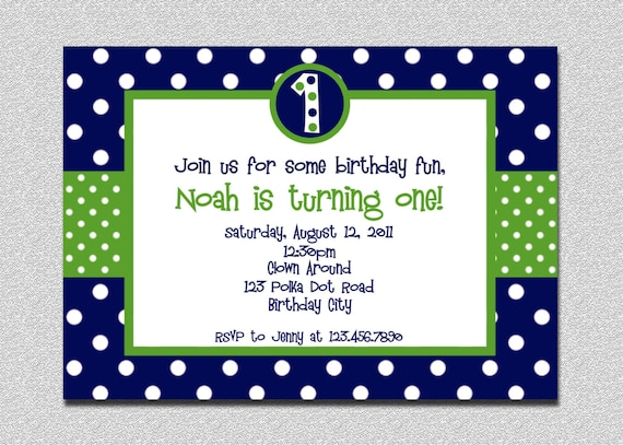 1st birthday polka dot invitation green and blue birthday il570xn stopboris Images