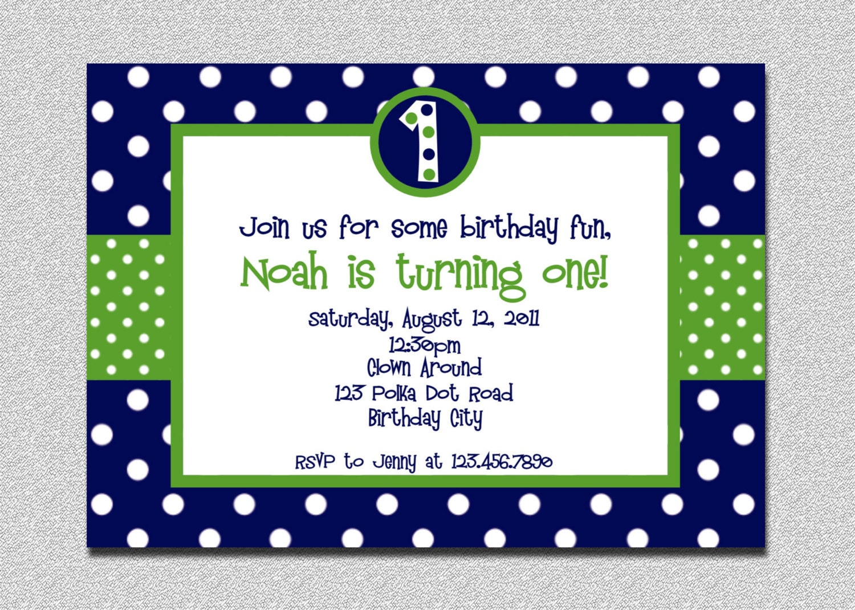 1st Birthday Polka Dot Invitation Green and Blue Birthday – Blue Birthday Invitations