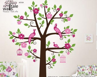 Blossom Tree wall decal for nursery with birds (peacocks), cages. Tree wall decal suitable for shelves.