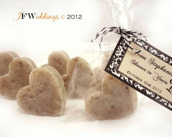 10 Vegan SOAP Heart Favors - Infused Lavender Buds - Event, Weddings or Bridal Favors - Made in 7 days