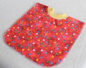 Large Pull Over Bib - Red Christmas Lights