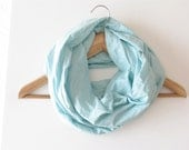 Infinity scarf, soft cotton cowl, blue neckwarmer