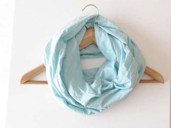 Infinity scarf, soft cotton cowl, blue neckwarmer