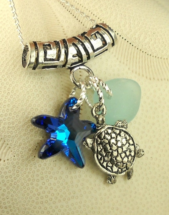 GENUINE Sea Glass Jewelry Aqua Turtle and Starfish Trio