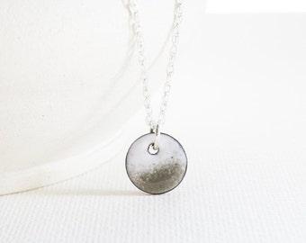 Enamel Pendant Necklace - White Gray Enamel Sterling Silver  Enamel Jewelry