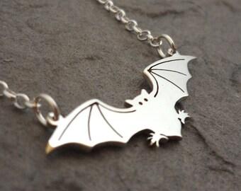 Sterling Silver Handmade Halloween Bat Necklace