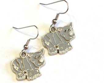 Gray Rhinoceros Enamel Charm Earrings - Zoo Animals Jewelry - Stocking Stuffer