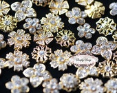 20pcs Assorted Dainty Rhinestone Crystal Metal Embellishment Buttons in GOLD Clear Flower Centers - Wedding Bridal Favors Invitations