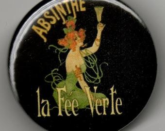 "Absinthe Green Fairy 1.25"" Button"