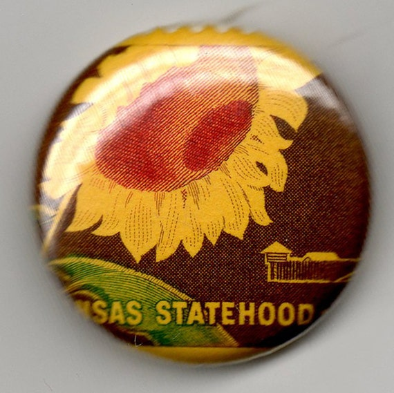 Centennial of Kansas statehood, 1 inch Button US Postage Stamp 1961