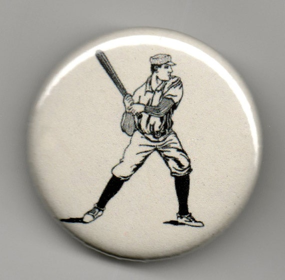 Baseball Batter 1.25 inch BUTTON/PIN/BADGE Vintage Image