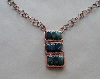Green Japser Necklace, Jasper Pendant, Copper and Jasper Necklace, Green Jasper Beads and Copper Necklace, Jasper Stone Necklace