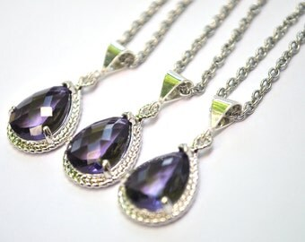 Bridesmaid necklaces Purple Amethyst Glass Teardrop Silver Set of 1 2 3 4 5 6 7 8 9 10 12