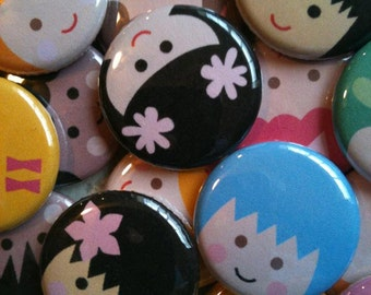 "Happy Face Children Buttons - Set of 20 - Pin Back, Flat Back, or Hollow Back Buttons - 1"" Buttons - Party Favors - Birthday Bash Favors"