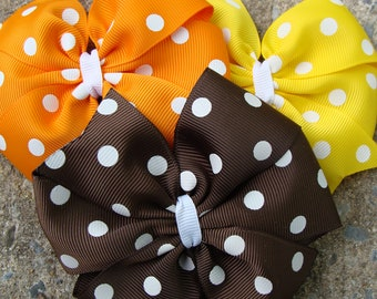 Hair Bow Fall Hair Bows Thanksgiving Hair Bows Pumkin Hair Bows Hair Clip Polka Dots Hair Bows