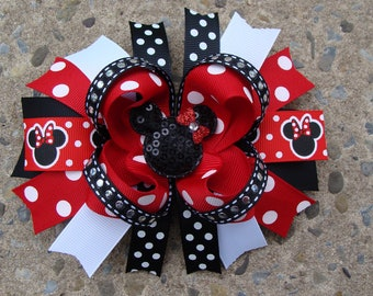 Mouse Hair Bow Large Boutique Hair Bow large hair bow boutique hair bow red and black hair bow