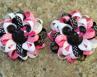 2 Disney Hair Bow Mickey Mouse Hair Bows Minnie Mouse Hair Bows Loopy Flower Hair Bows in Pink