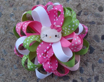 Kitty Hair Bow Pink and Green Kitty Bow