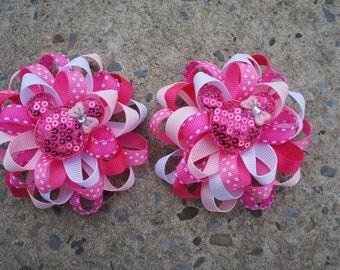 2 Hair Bows Mouse Hair Bows round Hair Bows Loopy Flower Hair Bows pigtails hair bows