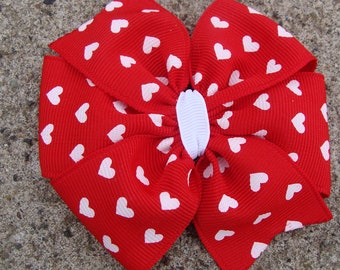 Large Valentine Hair Bow Red Hair Bow