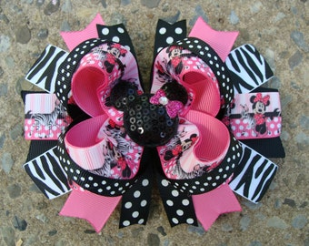 Large Boutique Zebra Mouse Hair Bow Large Hair bow Pink and Black Mouse Hair Bow coutique hair bow girl hair bow large hairbow